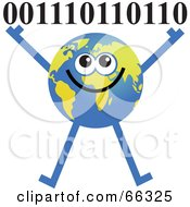 Royalty Free RF Clipart Illustration Of A Global Character Holding Binary Coding