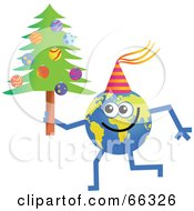 Royalty Free RF Clipart Illustration Of A Global Character Holding A Christmas Tree