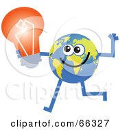 Royalty Free RF Clipart Illustration Of A Global Character Holding A Light Bulb