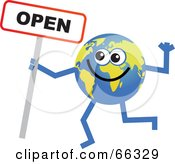 Royalty Free RF Clipart Illustration Of A Global Character Holding An Open Sign by Prawny