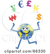 Royalty Free RF Clipart Illustration Of A Global Character Juggling Currency