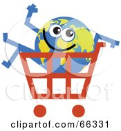 Royalty Free RF Clipart Illustration Of A Global Character In A Shopping Cart