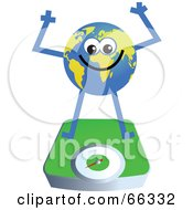 Royalty Free RF Clipart Illustration Of A Global Character On A Scale