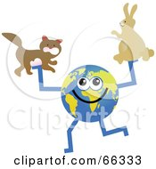 Royalty Free RF Clipart Illustration Of A Global Character Holding A Cat And Rabbit