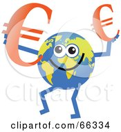 Royalty Free RF Clipart Illustration Of A Global Character Holding Euro Symbols