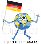 Royalty Free RF Clipart Illustration Of A Global Character Carrying A German Flag