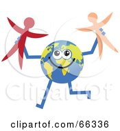 Royalty Free RF Clipart Illustration Of A Global Character Holding Stick People