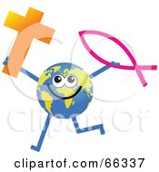 Global Character Holding A Cross And Christian Fish