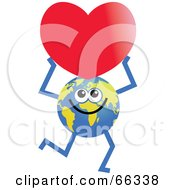 Royalty Free RF Clipart Illustration Of A Global Character Holding A Heart by Prawny