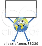 Royalty Free RF Clipart Illustration Of A Global Character Holding A Blank Sign by Prawny