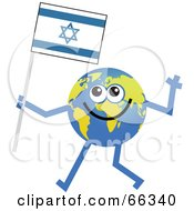 Royalty Free RF Clipart Illustration Of A Global Character Carrying An Israel Flag