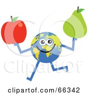 Royalty Free RF Clipart Illustration Of A Global Character Holding A Red Apple And Pear