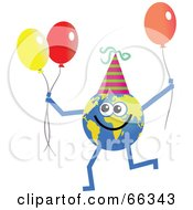 Royalty Free RF Clipart Illustration Of A Global Character Holding Party Balloons