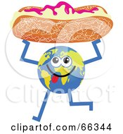 Royalty Free RF Clipart Illustration Of A Global Character Holding A Bun