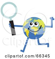Royalty Free RF Clipart Illustration Of A Global Character Holding A Magnifying Glass