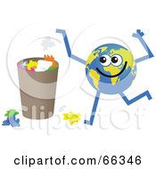 Royalty Free RF Clipart Illustration Of A Global Character Throwing Trash Out