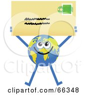 Royalty Free RF Clipart Illustration Of A Global Character Holding An Envelope
