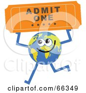 Royalty Free RF Clipart Illustration Of A Global Character Holding A Ticket