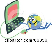 Royalty Free RF Clipart Illustration Of A Global Character Using A Computer