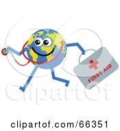 Royalty Free RF Clipart Illustration Of A Global Character Holding A First Aid Kit And Stethoscope