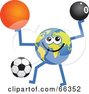Royalty Free RF Clipart Illustration Of A Global Character Holding And Kicking A Basketball Eight Ball And Soccer Ball by Prawny