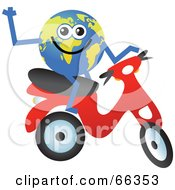 Royalty Free RF Clipart Illustration Of A Global Character Riding A Scooter