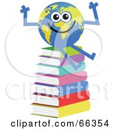 Royalty Free RF Clipart Illustration Of A Global Character Sitting On Books