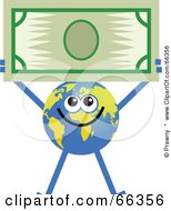 Royalty Free RF Clipart Illustration Of A Global Character Holding A Dollar