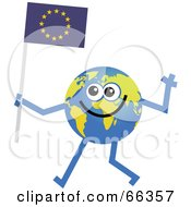Royalty Free RF Clipart Illustration Of A Global Character Carrying A Europe Flag