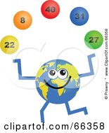 Royalty Free RF Clipart Illustration Of A Global Character Juggling Lottery Balls