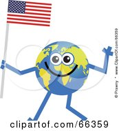 Royalty Free RF Clipart Illustration Of A Global Character Carrying An American Flag