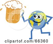 Royalty Free RF Clipart Illustration Of A Global Character Holding Beer