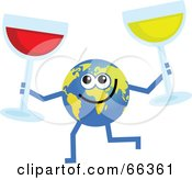 Royalty Free RF Clipart Illustration Of A Global Character Holding Glasses Of Wine