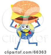Royalty Free RF Clipart Illustration Of A Global Character Holding A Cheeseburger