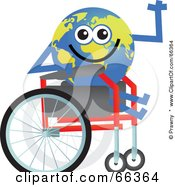 Royalty Free RF Clipart Illustration Of A Global Character In A Wheelchair