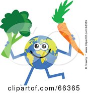 Royalty Free RF Clipart Illustration Of A Global Character Holding Broccoli And A Carrot