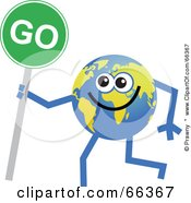 Royalty Free RF Clipart Illustration Of A Global Character Holding A Go Sign