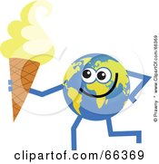 Royalty Free RF Clipart Illustration Of A Global Character Holding An Ice Cream Cone