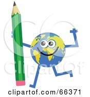 Royalty Free RF Clipart Illustration Of A Global Character Holding A Pencil