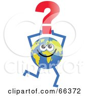 Royalty Free RF Clipart Illustration Of A Global Character Holding A Question Mark by Prawny