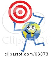 Royalty Free RF Clipart Illustration Of A Global Character Holding A Target