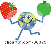 Royalty Free RF Clipart Illustration Of A Global Character Holding A Strawberry And Green Apple
