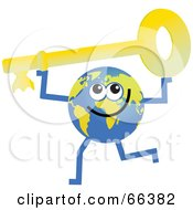Royalty Free RF Clipart Illustration Of A Global Character Holding A Key by Prawny
