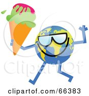 Royalty Free RF Clipart Illustration Of A Global Character Holding A Waffle Cone