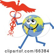 Royalty Free RF Clipart Illustration Of A Global Character Holding A Caduceus by Prawny