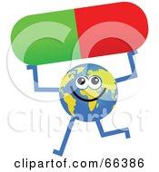 Royalty Free RF Clipart Illustration Of A Global Character Holding A Pill by Prawny