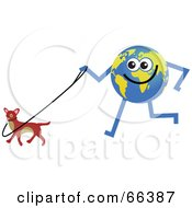 Royalty Free RF Clipart Illustration Of A Global Character Walking A Dog by Prawny