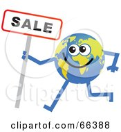 Royalty Free RF Clipart Illustration Of A Global Character Holding A Sale Sign by Prawny