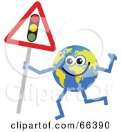 Royalty Free RF Clipart Illustration Of A Global Character Holding A Traffic Light Sign by Prawny