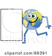 Royalty Free RF Clipart Illustration Of A Global Character Carrying A Blank Sign by Prawny